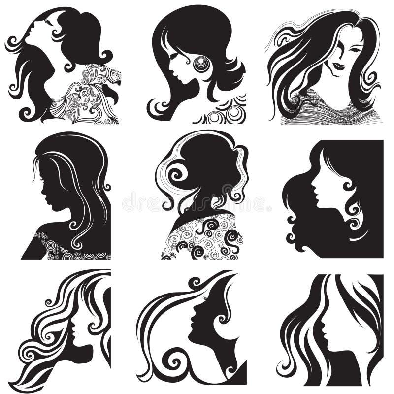 Ensemble de vecteur de silhouette - beau femme illustration de vecteur