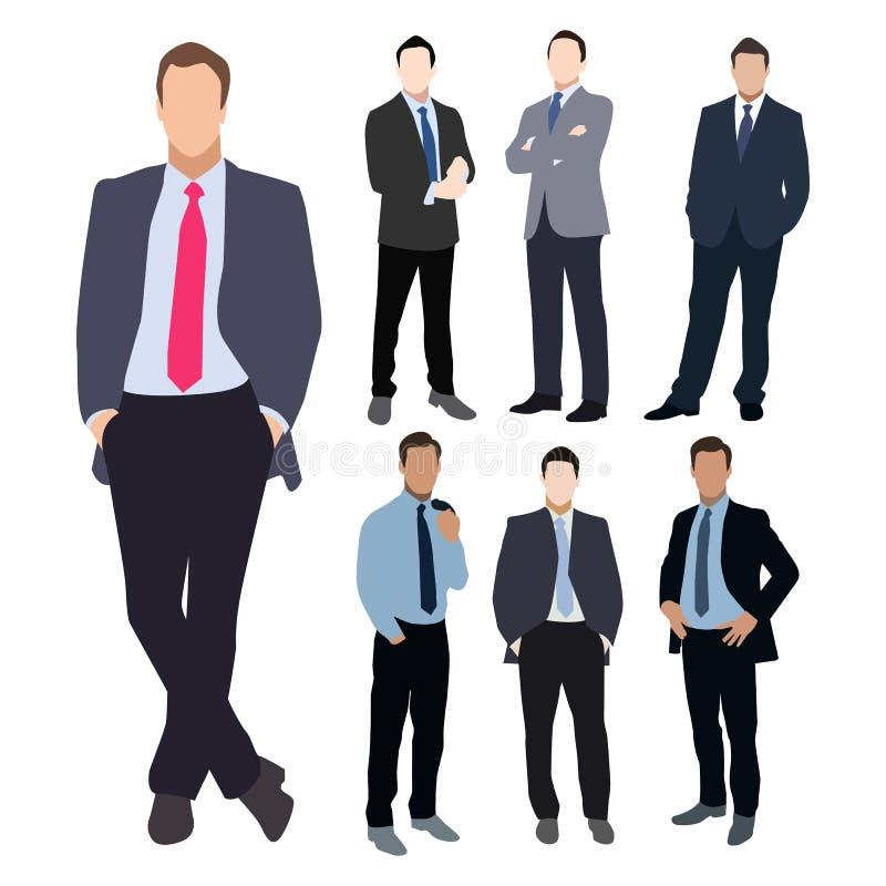 Ensemble de vecteur de silhouette d'homme d'affaires illustration libre de droits
