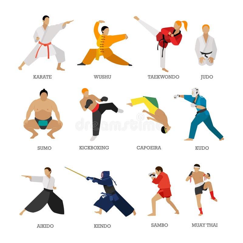 Ensemble de vecteur de silhouette de personnes d'arts martiaux d'isolement sur le fond blanc illustration libre de droits