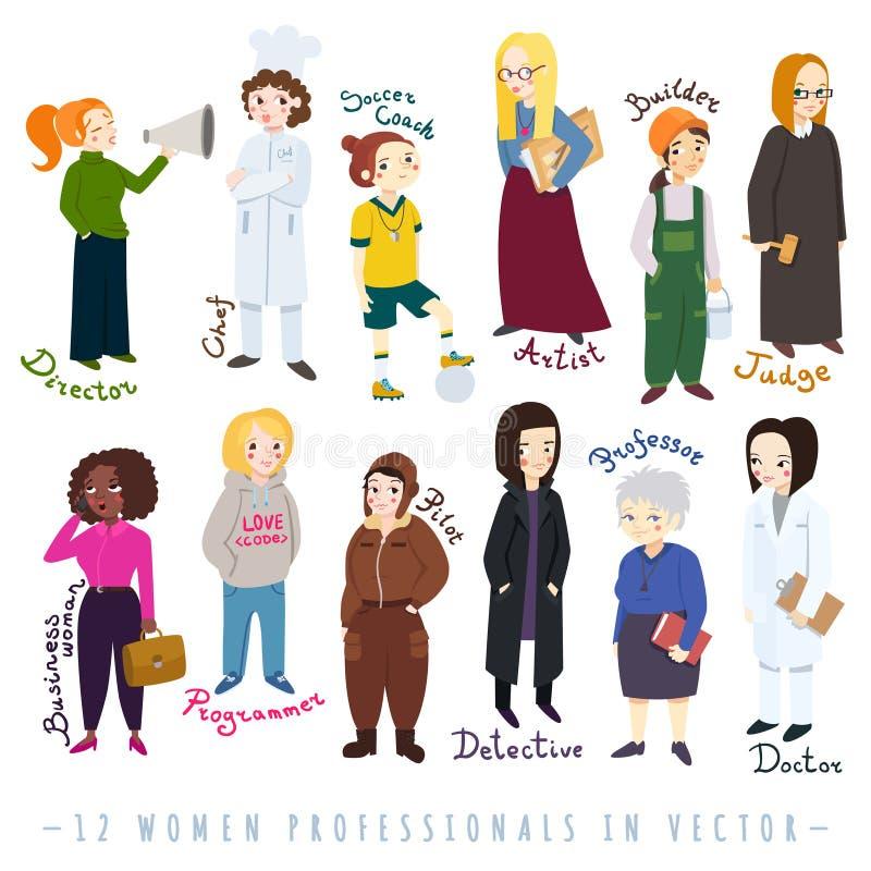 Ensemble de vecteur de style de bande dessinée de professionnelles de femmes illustration libre de droits