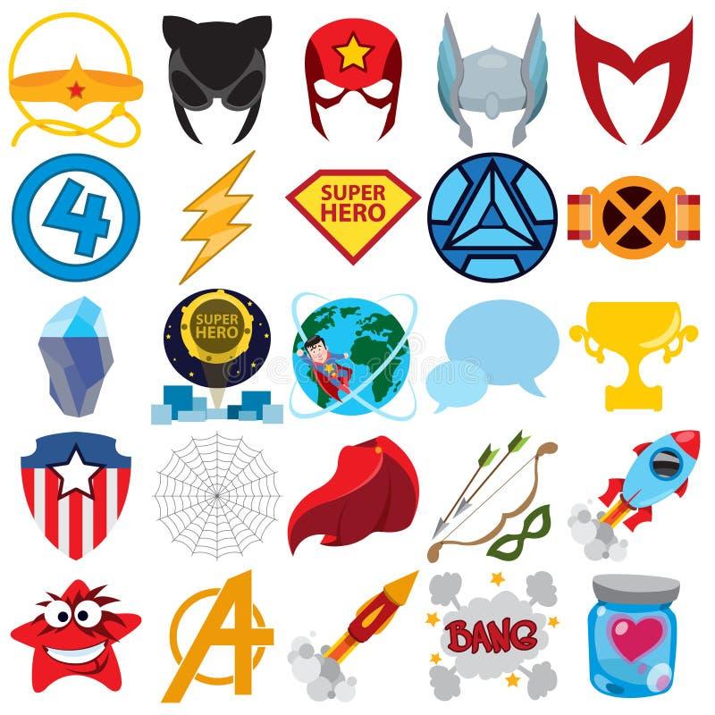 Ensemble de vecteur de super héros et d'icônes de surhomme illustration libre de droits