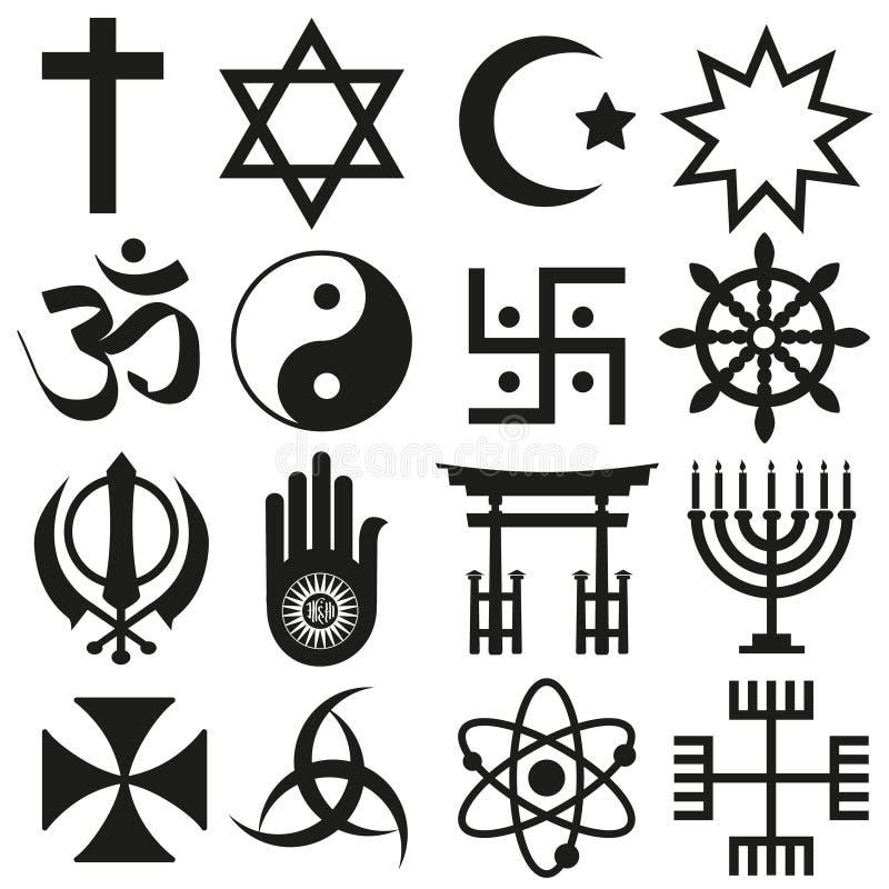 Ensemble de vecteur de symboles de religions du monde d'icônes eps10 illustration de vecteur