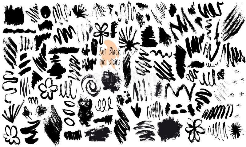 Ensemble de vecteur de taches à l'encre noire illustration libre de droits