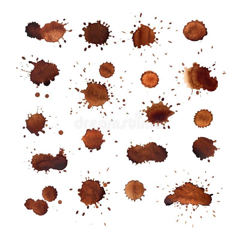 Ensemble de vecteur de taches de café illustration stock