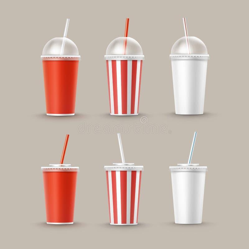 Ensemble de vecteur de tasses de papier pour des boissons non alcoolisées illustration stock