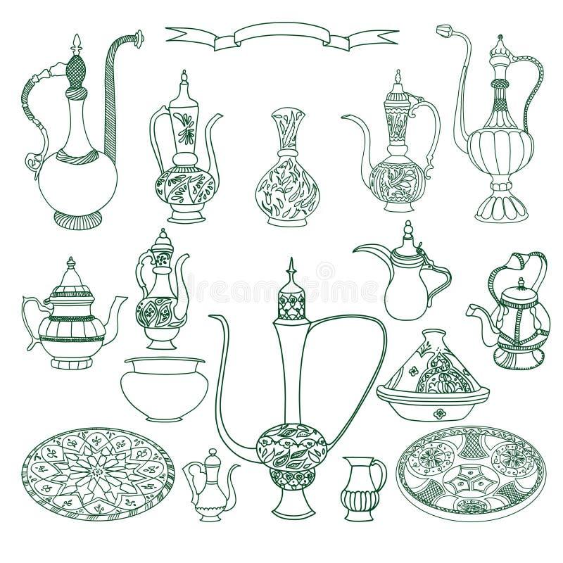 Ensemble de vecteur de vaisselle arabe La poterie orientale bombe l'illustration illustration libre de droits