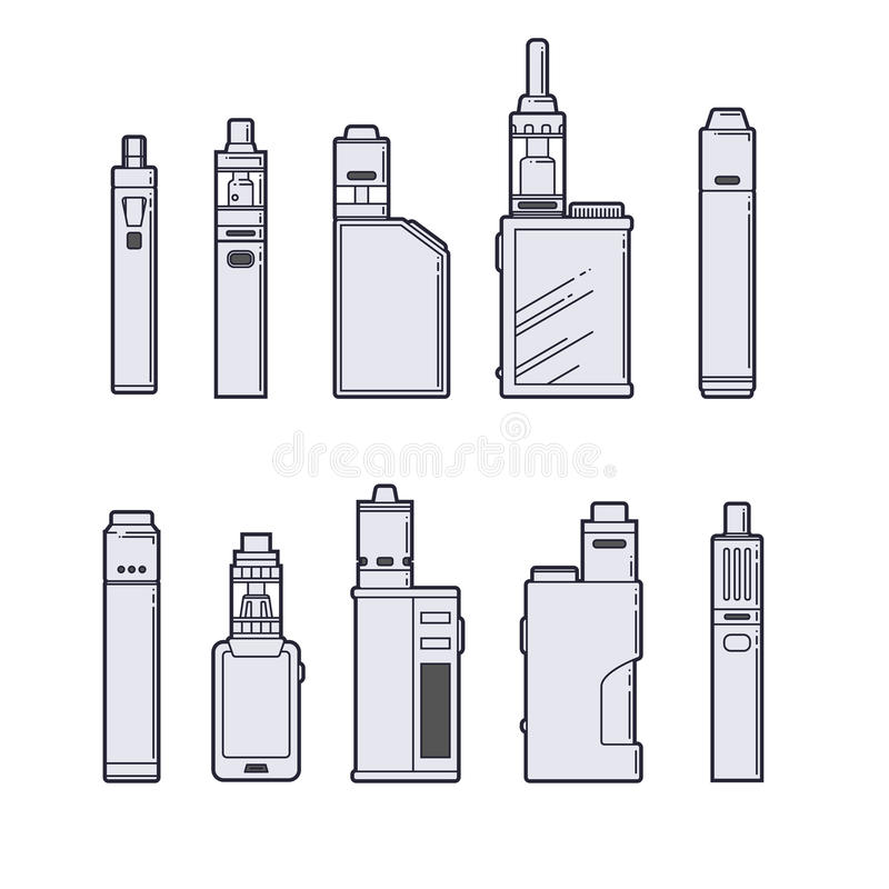 Ensemble de vecteur de Vaping Contour de dispositifs de Vape sur le fond blanc illustration stock