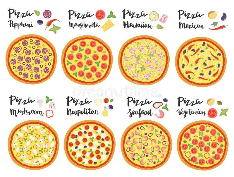 Ensemble de vecteur de variétés populaires de pizza tirée par la main illustration de vecteur