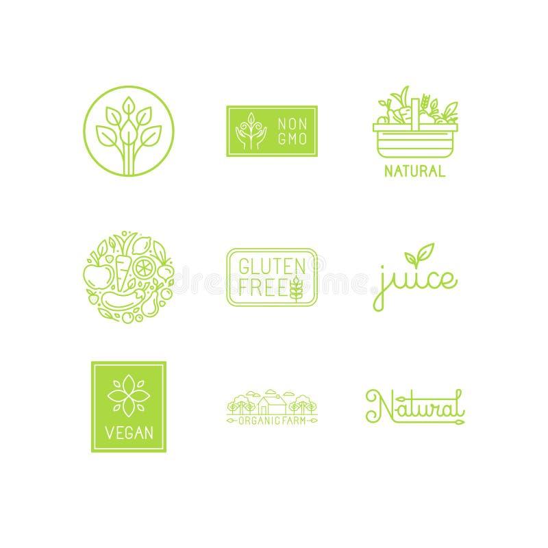 Ensemble de vecteur de vert et labels et insignes de produits biologiques illustration libre de droits
