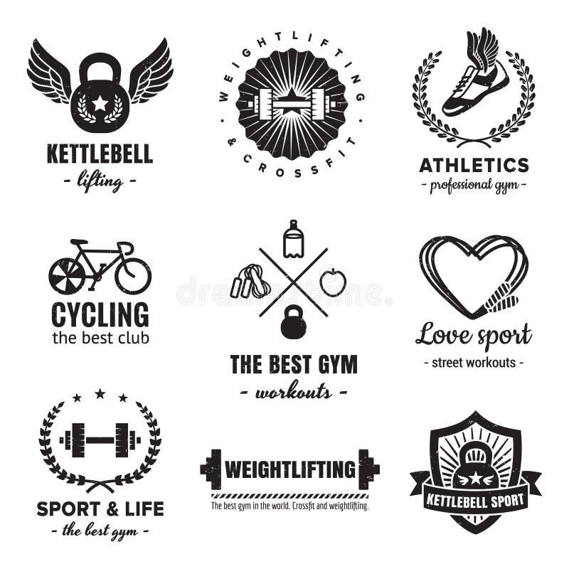 Ensemble de vecteur de vintage de logos de sport et de forme physique Hippie et rétro style illustration stock