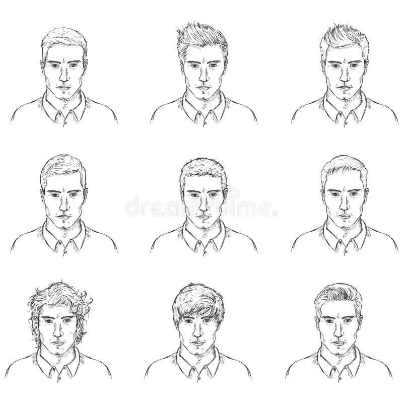 Ensemble de vecteur de visages de mâle de croquis illustration de vecteur