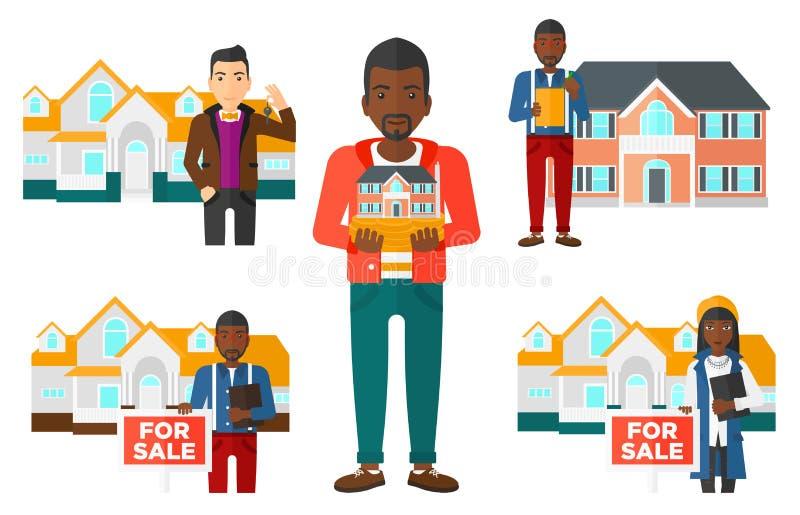 Ensemble de vecteur de vrais agents immobiliers et propriétaires de maison illustration stock