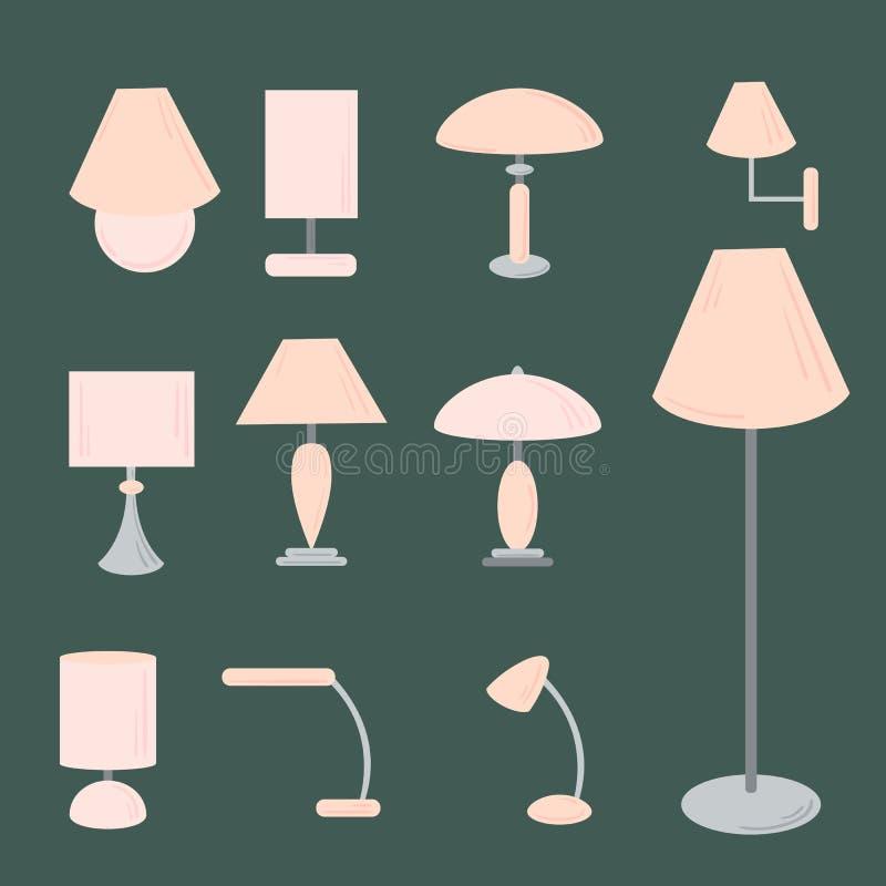 Ensemble de vecteur de différents types d'éclairage d'intérieur illustration de vecteur