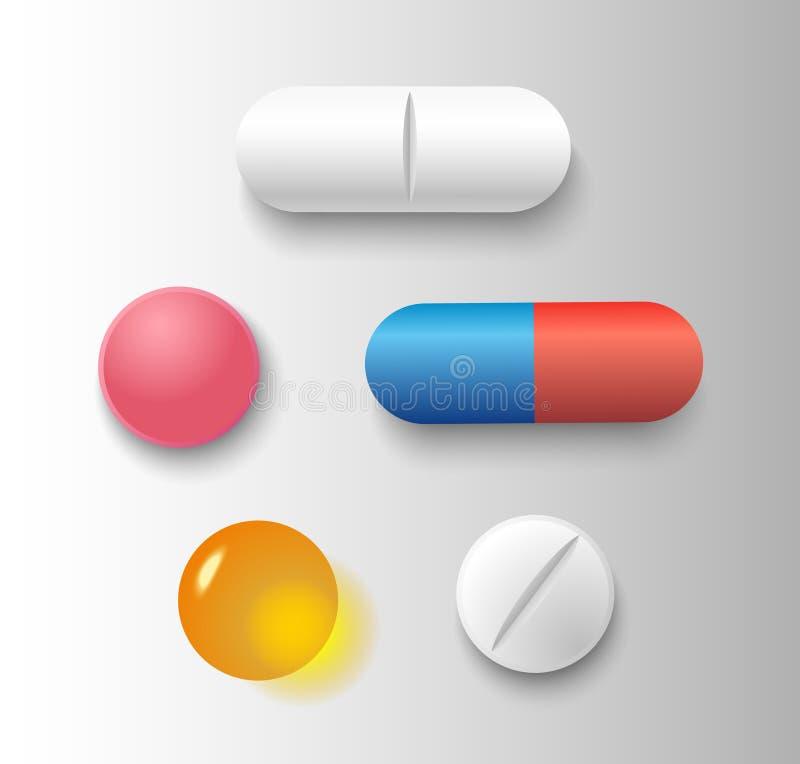 Ensemble de vecteur de diverses pilules et de capsules réalistes d'isolement sur le fond gris illustration de vecteur