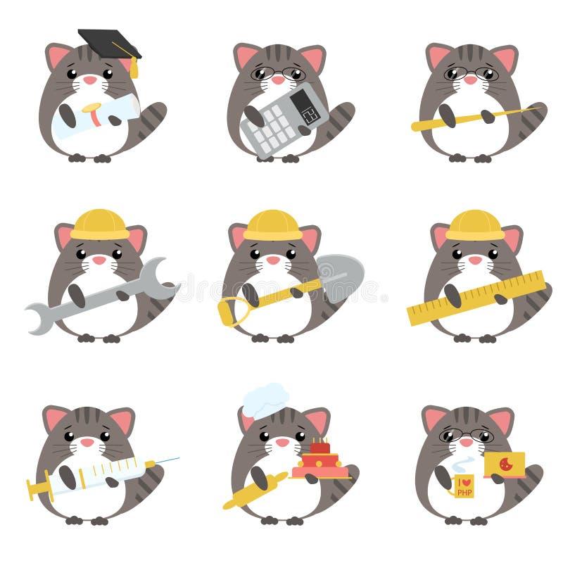Ensemble de vecteur de diverses professions de chats gris : illustration de vecteur