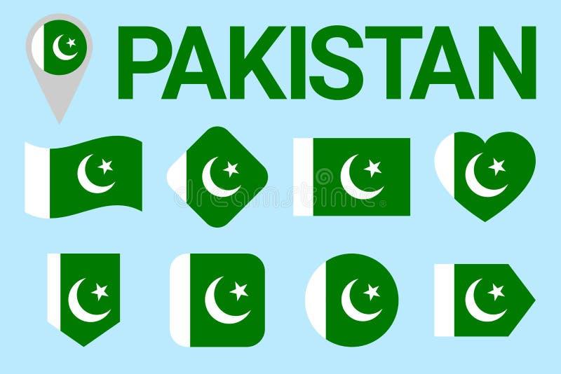 Ensemble de vecteur de drapeau du Pakistan collection pakistanian de symboles de natioanl sports, ressortissant, voyage, géograph illustration stock