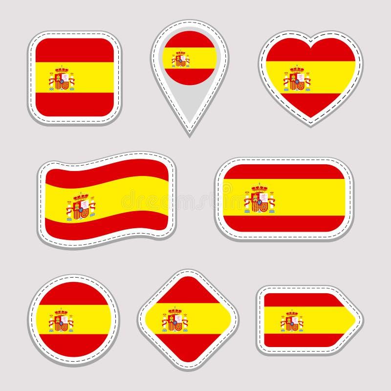 Ensemble de vecteur de drapeau de l'Espagne Collection espagnole d'autocollants de symboles nationaux Icônes géométriques d'isole illustration libre de droits
