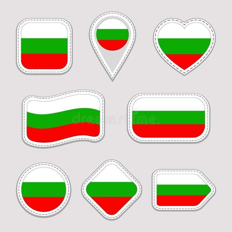 Ensemble de vecteur de drapeau de la Bulgarie Collection bulgare d'autocollants de drapeaux nationaux Icônes géométriques d'isole illustration de vecteur