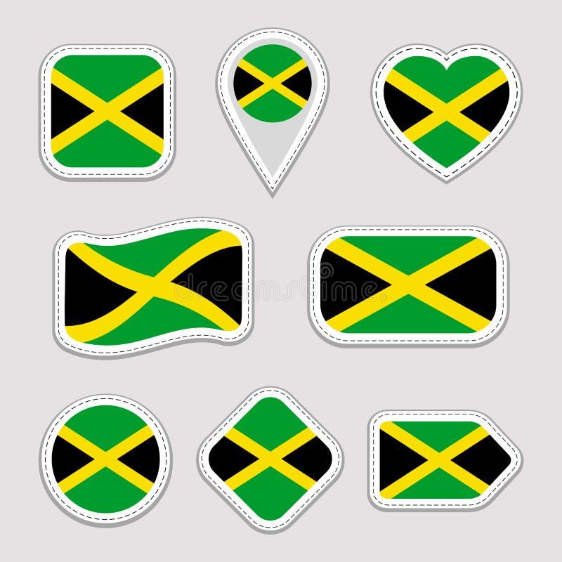 Ensemble de vecteur de drapeau de la Jamaïque Collection jamaïcaine d'autocollants de drapeaux nationaux Icônes géométriques d'is illustration de vecteur