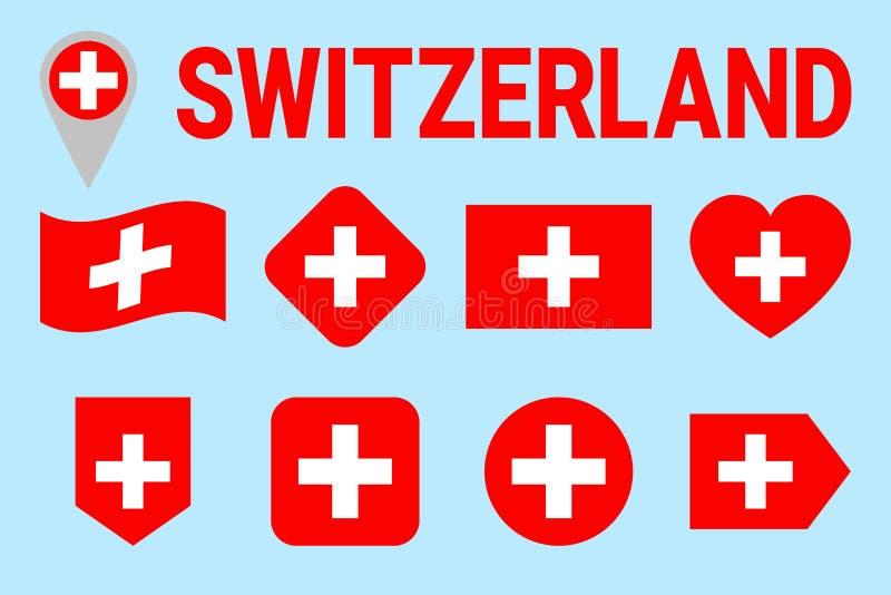 Ensemble de vecteur de drapeau de la Suisse Différentes formes géométriques Style plat Collection suisse de drapeaux Peut employe illustration stock