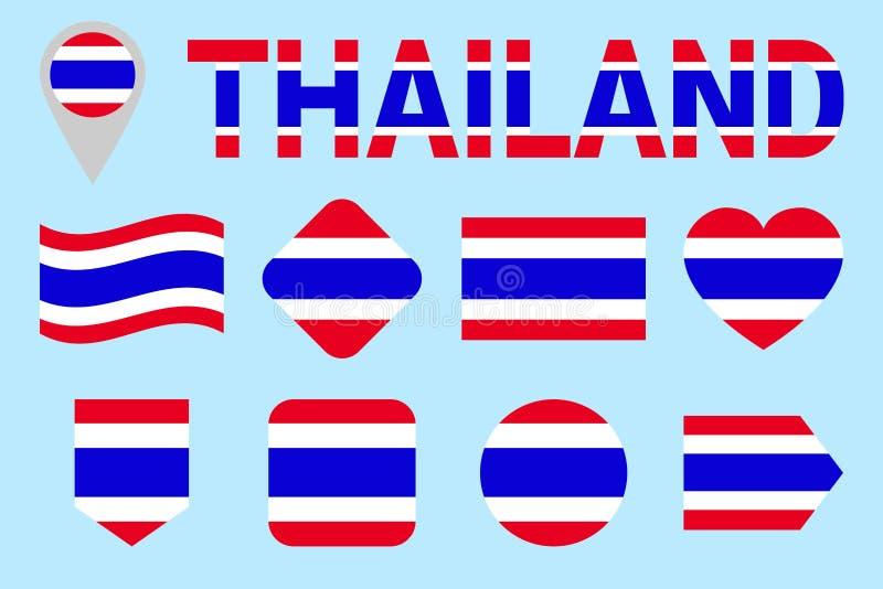 Ensemble de vecteur de drapeau de la Thaïlande Différentes formes géométriques Style plat Collection de drapeaux du Siam Peut emp illustration de vecteur