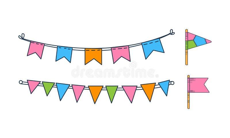 Ensemble de vecteur de drapeaux donnants un petit coup tirés par la main Décor de vacances Guirlandes colorées Décorations de fêt illustration stock