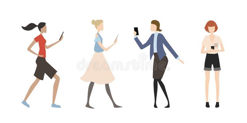 Ensemble de vecteur de femmes plates simples dans diverses situations utilisant le smartphone illustration stock