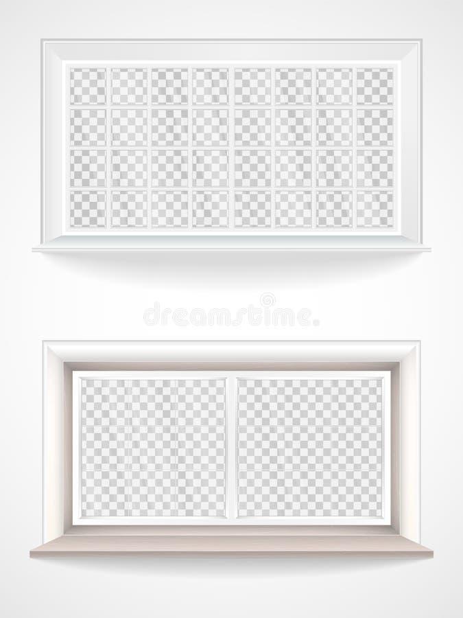Ensemble de vecteur de fenêtres en bois et en plastique dans le style réaliste illustration stock