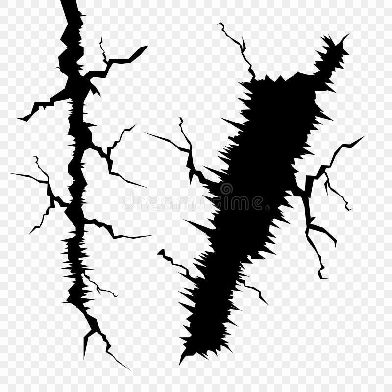 Ensemble de vecteur de fissures dans la surface Les éléments d'un défaut dans la terre, d'isolement sur un fond transparent illustration stock
