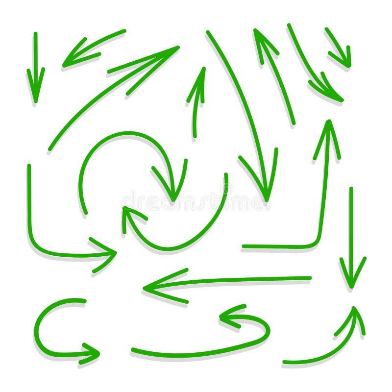 Ensemble de vecteur de flèches vertes avec des ombres sur Backround blanc, icônes d'isolement illustration de vecteur