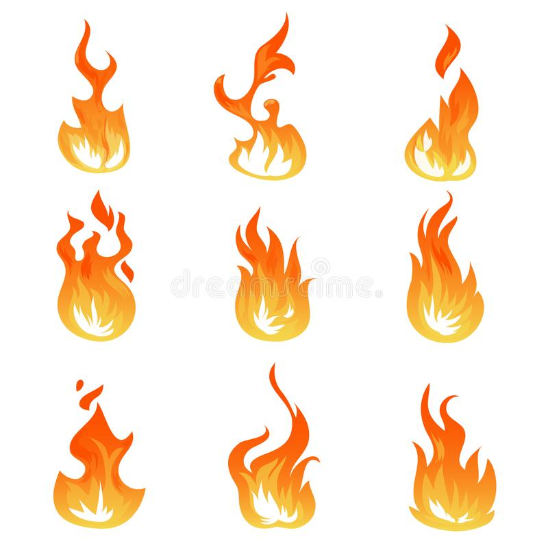 Ensemble de vecteur de flammes du feu de bande dessinée Effet de la lumière d'allumage, symboles flamboyants illustration stock