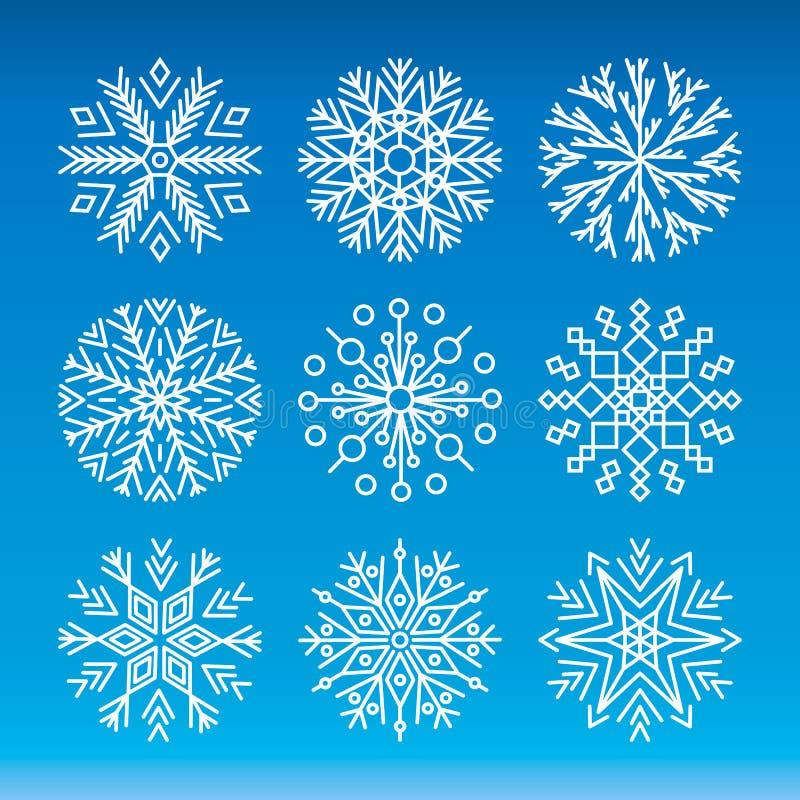 Ensemble de vecteur de flocons de neige illustration de vecteur