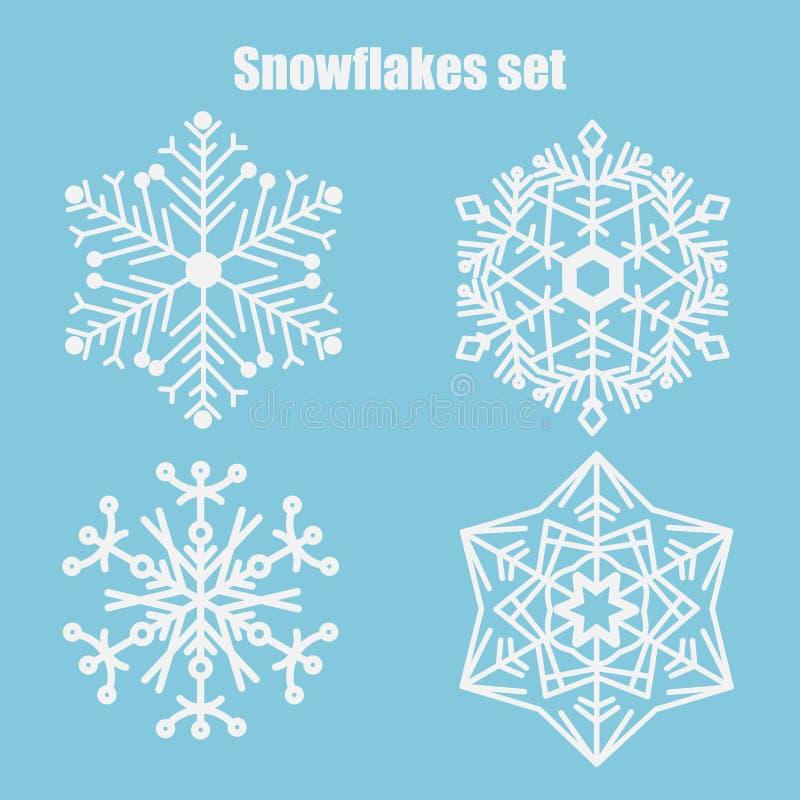 Ensemble de vecteur de flocons de neige sur un fond bleu illustration libre de droits