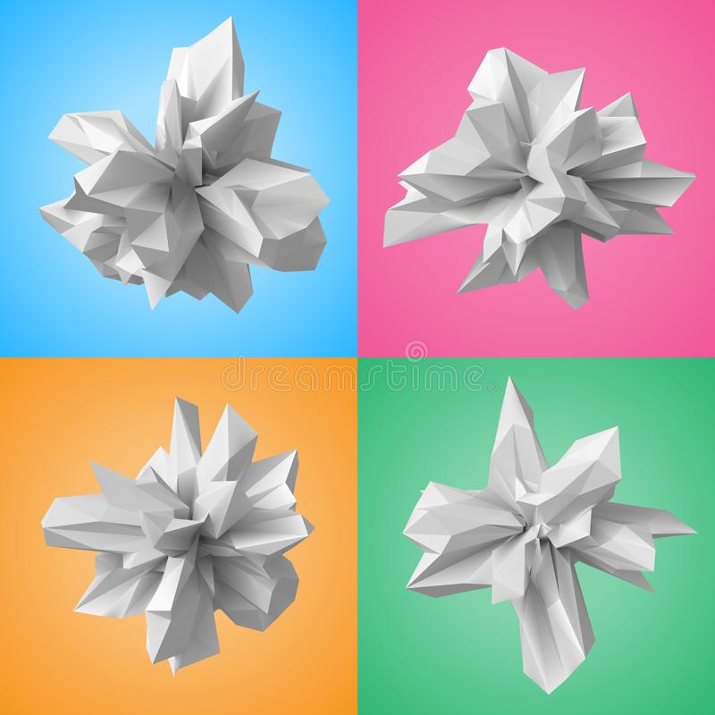 ensemble de vecteur de formes du style 3d illustration de vecteur