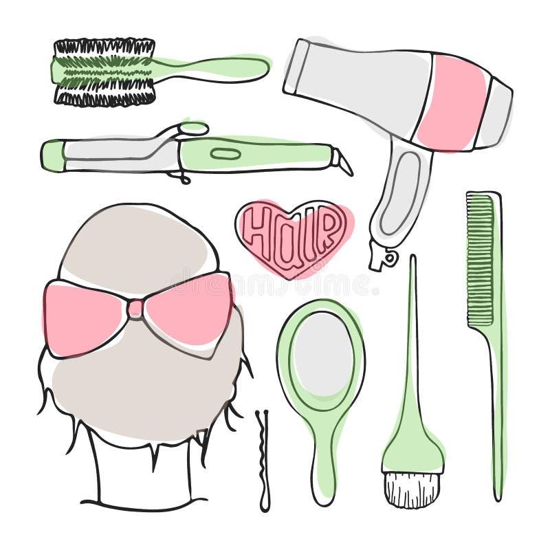 Ensemble de vecteur de griffonnage d'outils de coiffure illustration libre de droits
