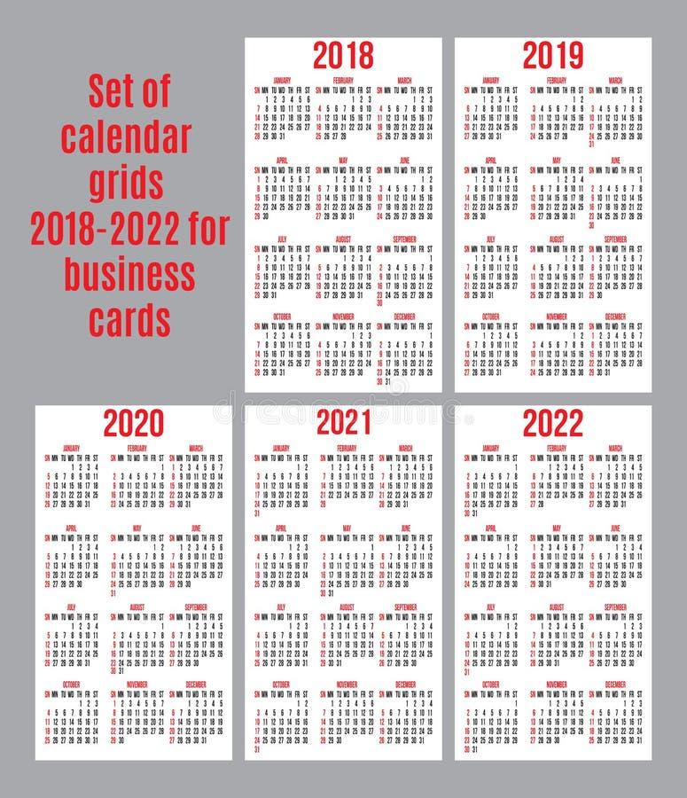 Calendrier 2018:2022 Ensemble De Vecteur De Grille De Calendrier Pendant Les Années