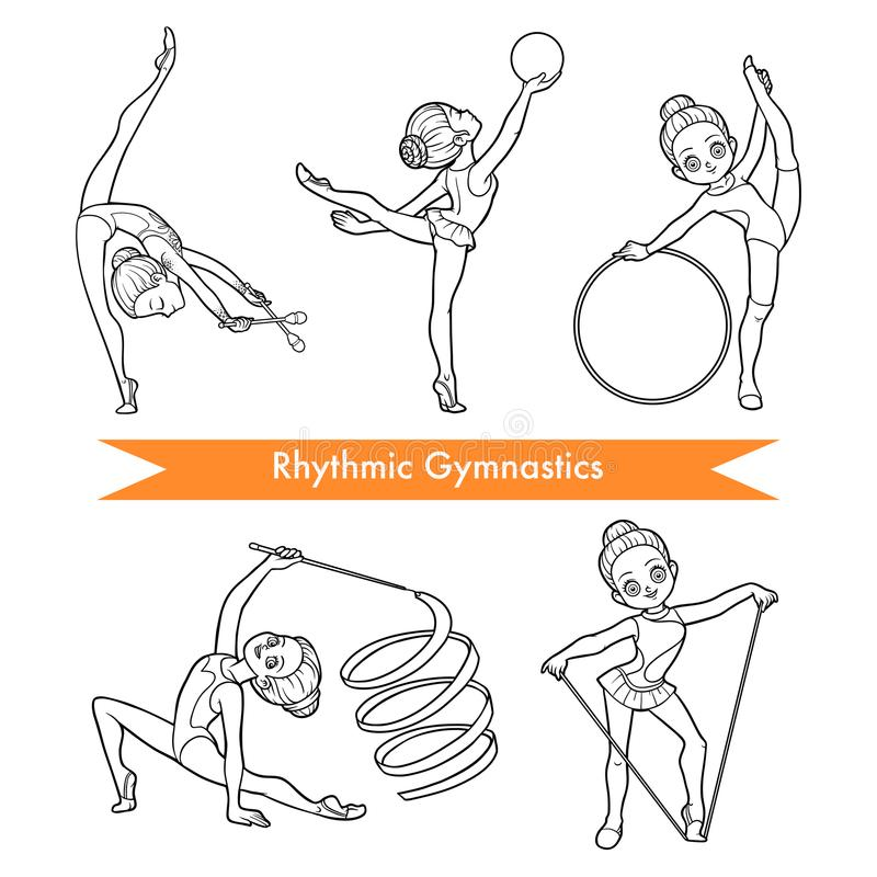 Ensemble de vecteur de gymnastique rythmique Filles de dessin animé illustration stock