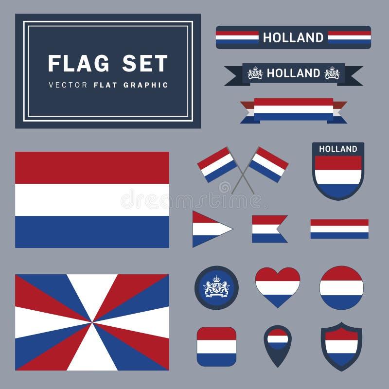 Ensemble de vecteur de 16 illustrations relatives de drapeau différent de Holland Netherlands photos libres de droits