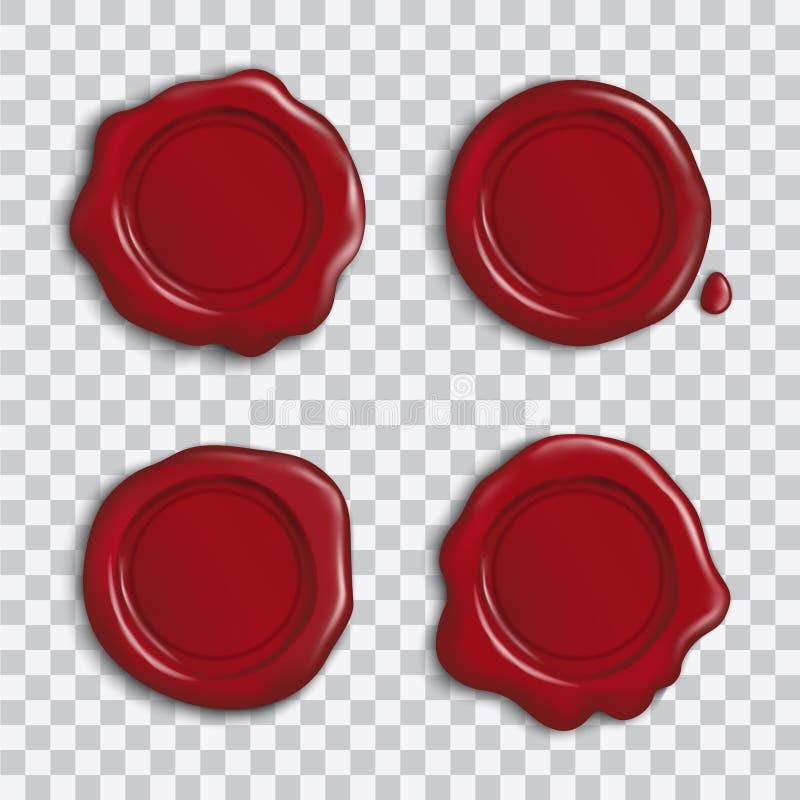 Ensemble de vecteur de joints brillants rouges vides de cire avec l'ombre d'isolement sur le fond transparent illustration de vecteur