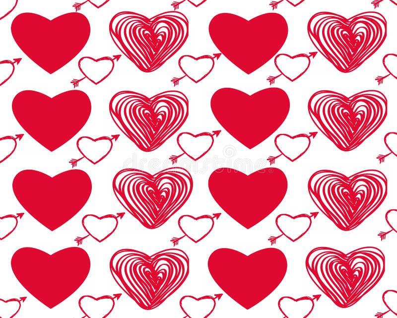 Ensemble de vecteur de jour du ` s de Valentine avec les coeurs rouges sur le fond blanc illustration libre de droits