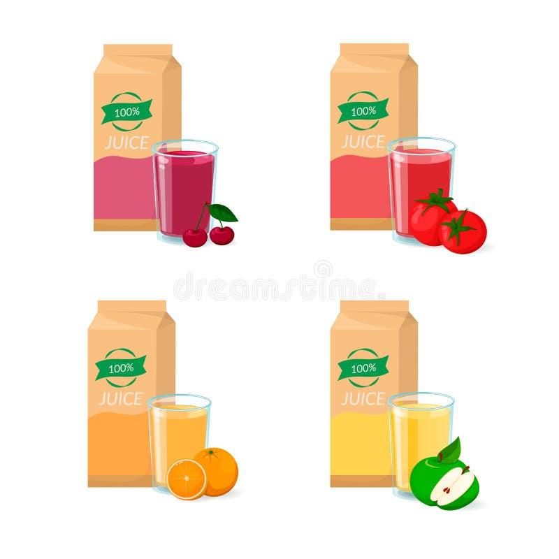 Ensemble de vecteur de jus Paquet, verre et fruit de boîte Orange, cerise, tomate, pomme illustration libre de droits