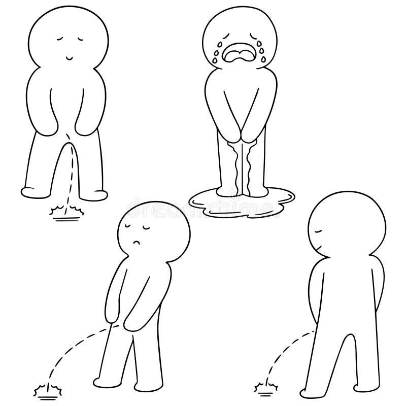 Ensemble de vecteur de l'homme faisant pipi illustration de vecteur