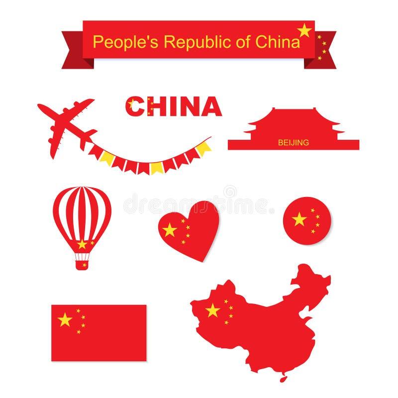 Ensemble de vecteur de la Chine Drapeau et carte illustration stock