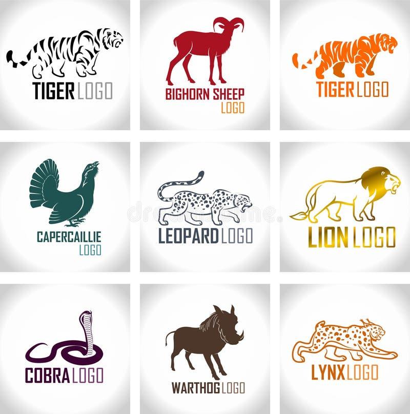 Ensemble de vecteur de labels d'emblèmes de logo d'animaux illustration stock