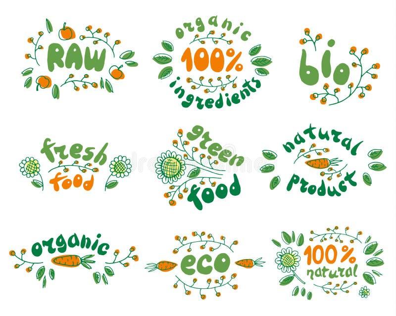 Ensemble de vecteur de labels sains d'aliment biologique illustration stock