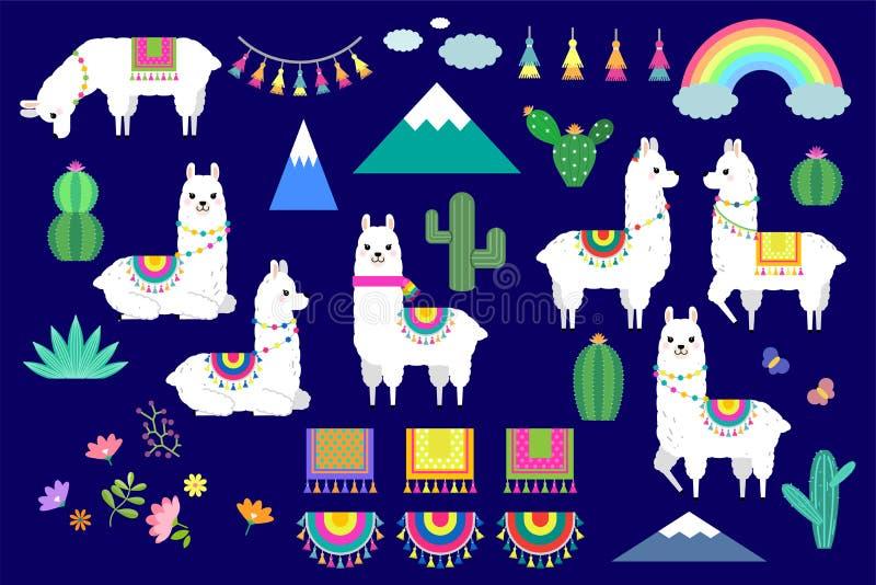 Ensemble de vecteur de lamas, d'alpaga et d'éléments mignons de collection de cactus illustration stock