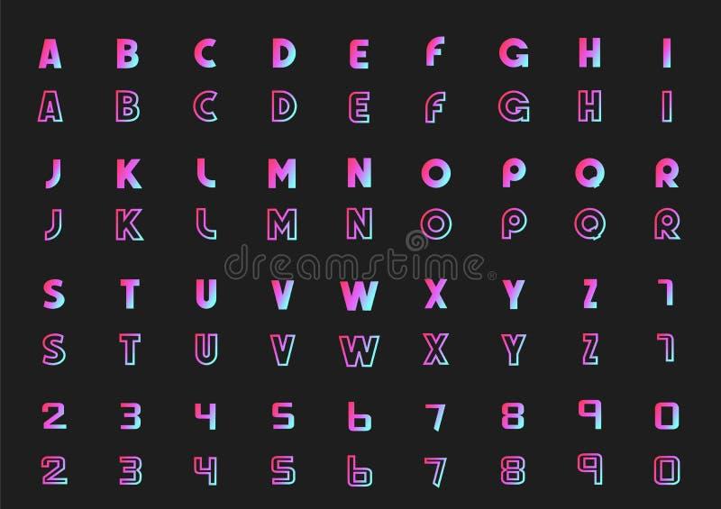 Ensemble de vecteur de lettres de l'alphabet et des nombres, style au néon photographie stock
