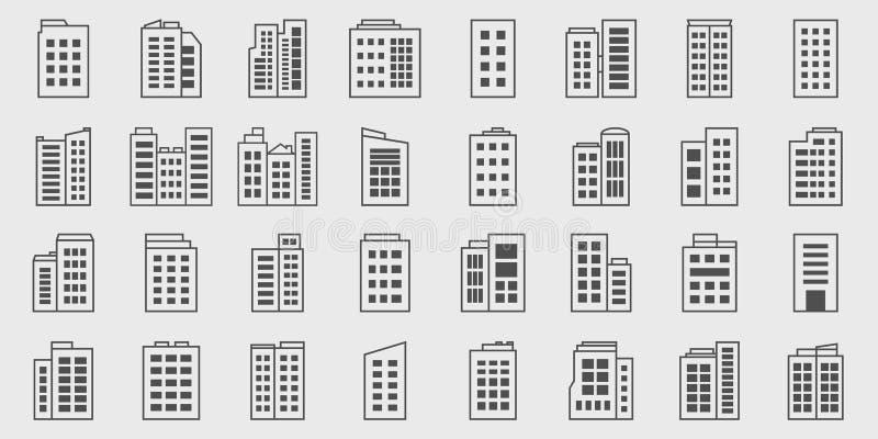 Ensemble de vecteur de Line Icons Building, Company illustration stock