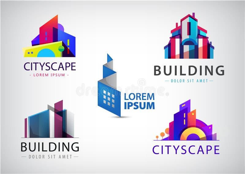 Ensemble de vecteur de logos color?s d'immobiliers, de ville et d'ic?nes d'horizon, illustrations Construction d'architecte illustration libre de droits