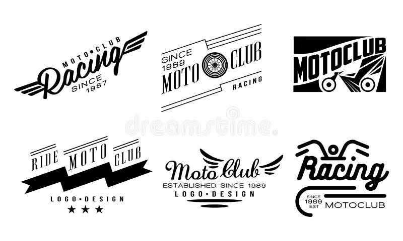 Ensemble de vecteur de 6 logos de cru pour le club de moto Insignes monochromes originaux avec des ailes et des roues illustration stock